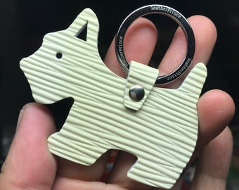 Special Offer - Ready Stock - Small size - 10th Anniversary silhouette dog Epi leather keychain ( Red )