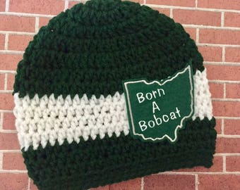 Baby // Crochet Hat // Ohio College // Team Color // Bobcats // Handmade // Born a Bobcat // Green and White