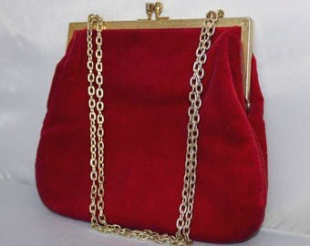 Ruby Red Velvet Evening Bag - Gold Metal Frame - Converts to Clutch - Raspberry Red Hand Bag - Red Velvet Purse - 1950s Red Bag - Hong Kong