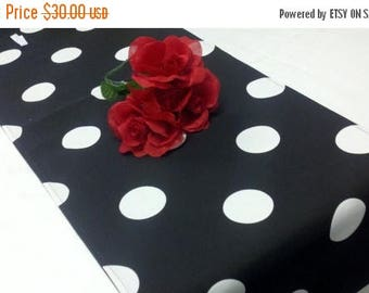 """ON SALE 108"""" table Runner Polka Dot  Black with x-large white dots wedding, bridal, home decor"""