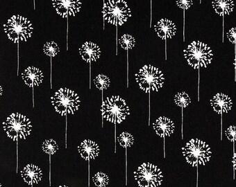 "ON SALE SALE 90"" Table Runner Was 26.00 white  dandelions on black background flower floral table runner Last ones"