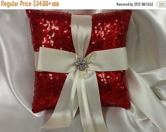 ON SALE Red Sequin Ring Pillow - or Basket -Flower Girl -Ringbearer, Christmas Wedding, Winter Wedding,  Ribbon Choice, Bling Diamond Bridal