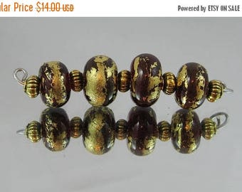 50% Off Glass lampwork beads with 22Kt gold foil Item 8550