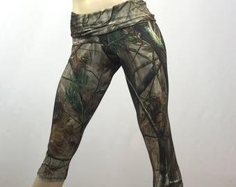 SALE s/m Camo Pants - Workout Clothes - Hot Yoga - Fitness - Camo - Camouflage - High Waist - Fold Over - Capri - SXY Fitness - USA -