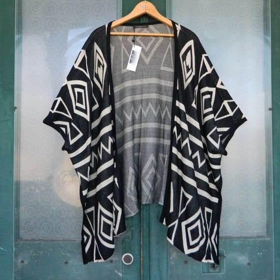 Do Everything in Love Kimono Sweater -OS- Black and Sand Viscose Knit NWT