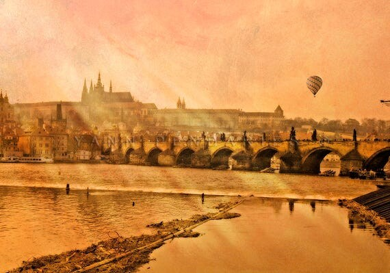 Prague,Hot Balloon Air,Religious Art,Magical sunset,Orange decor,Travel decor,clouds print,modern decor,landscape photograph,hot air balloon