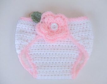 CROCHET PATTERN - CV093 Crochet Rose Baby Diaper Cover - PDF Download