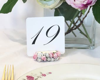 "Floral Embellished Table Number Holders 2"" (Set of 10)"