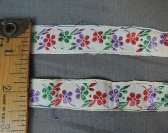 Vintage Silk Floral Ribbon Remnants, 9 pieces at 15 inches long each, Embroidered