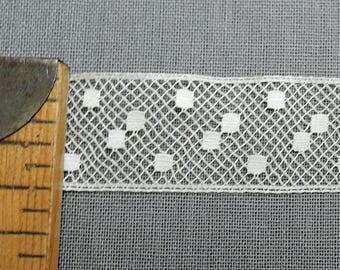 4 Yards Lace Antique 1900s, Polka Dots 5/8 inch wide, cotton Vintage Trim Edwardian