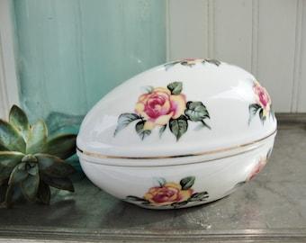 vintage porcelain easter egg box candy dish shabby cottage roses japan