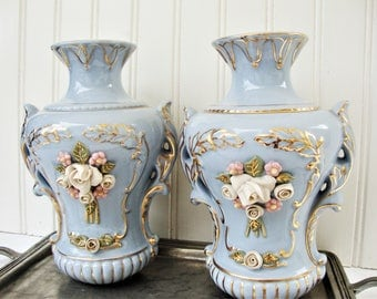 vintage capidomonte style lamp base pair french blue applied flowers