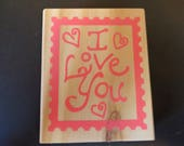 "NEW ""I Love You"" Rubber Stamp - 3"" X 2 1/2"""