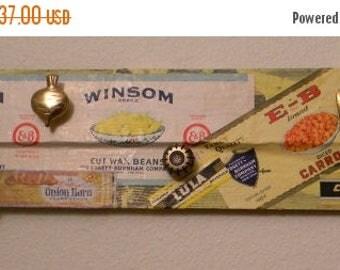 Close Out Sale Altered Art Coat Rack, Vintage Vegetable Labels