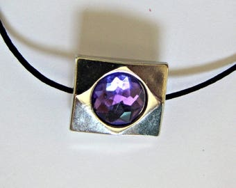 Amethyst Choker, Black Cord, Purple Pendant, 14 inch plus 3 1/2 extender, Adjustable, Purple Stone choker, Necklace,  Choker  #1235
