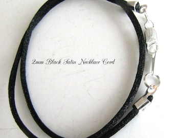 12 to 24 inch Black Satin Necklace Cord,  Choker Necklace,Pendant Cord, Charm Cord, Silver, Antique Brass, Gold Lobster, Unisex, Custom.