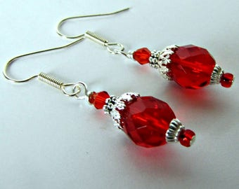Holiday Red Dangle Earrings, Beaded  Valentine Red Drop Earrings, Bridesmaid Earrings, Casual.  Surgical Ear Wires, Ready to ship #1297