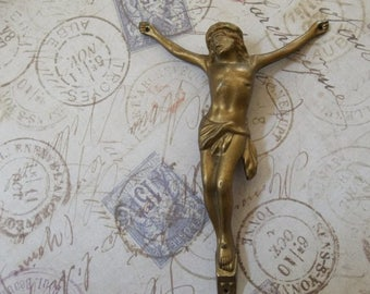 CLEARANCE SALE World War II Era Large Vintage Brass Finish Corpus Christi, Crucifix Element, Body Of Christ Found Object