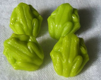 Set of 4 VINTAGE Lime Green Glass Realistic Frog BUTTONS