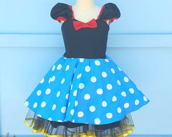 Minnie Mouse Dress, Minnie Mouse Costume, retro Minnie Mouse, Turquoise Minnie Mouse costume, Turquoise dots Minnie Mouse Dress, daisy
