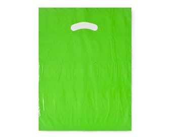 50 Pack Lime green Opaque Cut Out Handle 9 X 12 Inch Size Retail Merchandise Plastic Bags