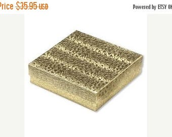 STOREWIDE SALE 100 Gold Foil Cotton Filled Jewelry Storage Presentation Boxes 3.5X3.5X1 Inch Size