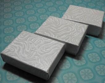 STOREWIDE SALE 20 Pack White Swirl Cotton Filled 11 Size Cotton Filled Boxes 1  7/8 Inch by 1  1/4 inch by 5/8 Inch Size