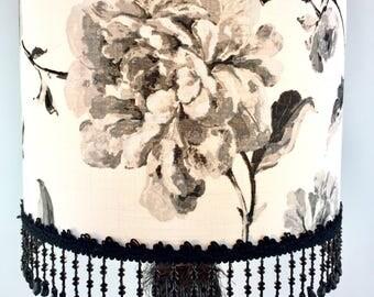 Lampe sur pied/tissu noir et blanche/lampe tissu/motif fleurs/lampe tissu de toile de coton/lampe d'ambiance/Les lampes de marie