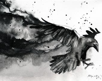 Crow painting - Ink on 8x12in canvas, A4, 20x30cm - abstract crow art