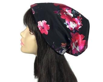 Black Floral Slouchy Hat Silver Metallic Flower Slouchy Beanie Pink and Silver Slouchy Hat Floral Slouchy Beanie Metallic Turban CUSTOM SIZE