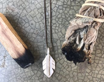 Sterling Silver Handmade Feather Charm Necklace Choker