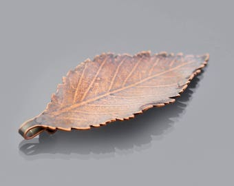 Small Copper Elm Leaf Ornament, leaf pendant