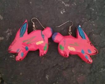 Wooden Earrings, Rabbit Earrings, Folk Art Earrings, Bunny Earrings, Orange Earrings, Fashion Earrings, Painted Earrings,
