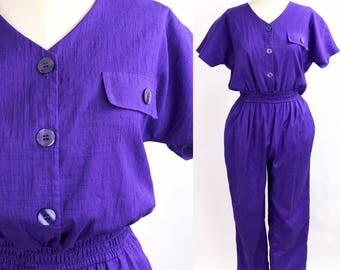 Vintage 80s Jumpsuit | Vivid Purple Poly Shantung Jumpsuit | New Wave Onesie | S