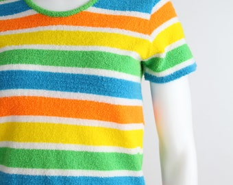 Vintage Striped Terry Shirt | 1970s Neon Striped Top | Made in Japan | XS