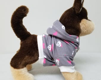 Dog Clothes Skulls Hoodie, Chihuahua, Yorkie