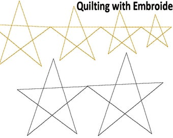 STAR Quilting with Embroidery Design Collection 4x4 PES, HUS - 6 Sizes - Digital Download