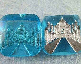 2 Gorgeous Vintage Aquamarine Glass Intaglio Cabochons of the Taj Mahal India