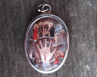 Hand of god etsy vitreous enamel mano poderosa powerful hand of god pendant aloadofball Choice Image
