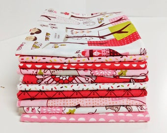 SALE!!  Just Another Walk in the Woods by Stacy Iset Hsu FQ bundle in Reds and Pinks - 10 Fat Quarters