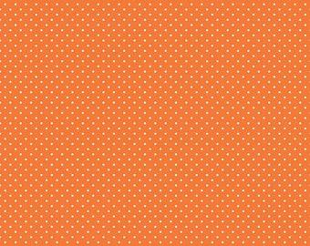 Riley Blake Designs, White Swiss Dot on Orange  (C670 60)