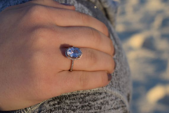 Oval Blue Sapphire Engagement Ring. Rose Gold Engagement Ring 3.78ct oval blue sapphire ring. Rose gold engagement ring by Eidelprecious.
