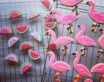 Flamingo and Watermelon Cookies