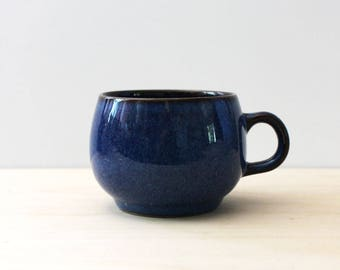 Denby Ram's Head Pottery blue breakfast cup, 1970s English stoneware. Flat cup, vintage stoneware.