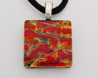 Dichroic glass pendant necklace.
