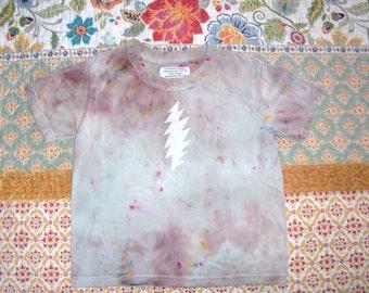 Grateful Toddler ~ Kids 100% ecofriendly cotton and hemp t shirt ~ lightning bolt ~ steal your face ~ tie dye hippie ~ size 4T
