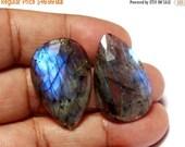 50% Off Sale 2 Pcs 1 Match Pair 30x19x4mm Natural Blue Flashy Labradorite Pear Shape Rose Cut Gems / Flat Back Gems / Faceted Cabochon LB20
