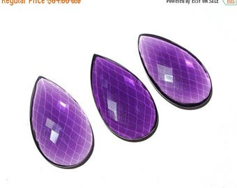 Sale 45% off 3Pcs 1 Match Pair n a Focal Size 39x22mm High Quality AAA Amethyst Quartz Rose Cut Faceted Pear Briolette - Drill Hole You CHOO