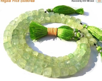 50% Off Sale 8 Inches - Prehnite Faceted 3D Cubes Briolette Size 6 - 7mm, Natural Stone Finest Quality Wholesale Price