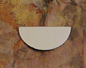 """5 HALF CIRCLE 1/2"""" x 1"""" *Choose Your Metal* Aluminum Brass Bronze Copper Nickel Silver Stamping Blanks  Geometric Name Id Tag Enameling"""